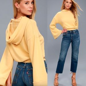 🆕 Project Social T Yellow Cropped Hoodie